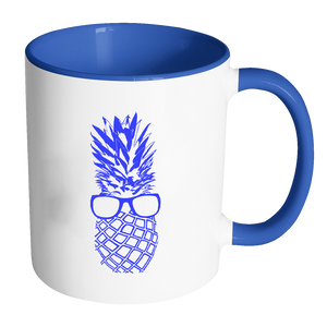 """The Pineapple Life"" Blue Accent Coffee Mug 7 by Just Cool Folks"