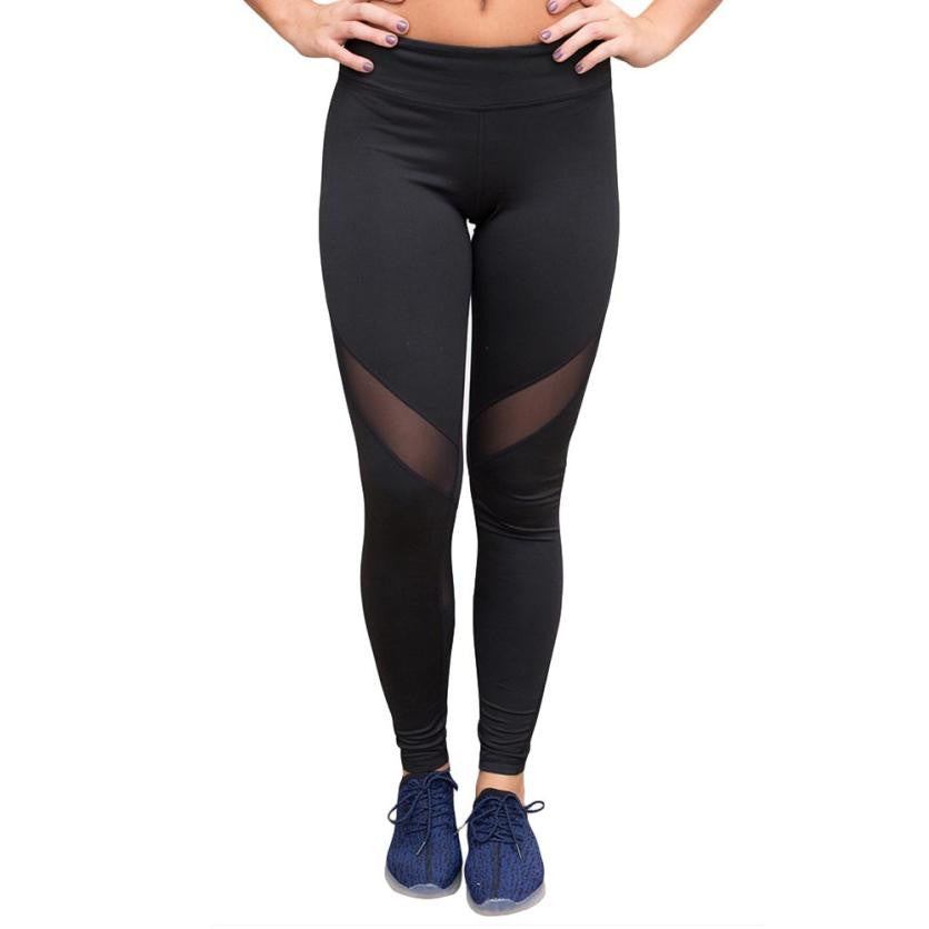Women Hight Waist Yoga Pants and Fitness Leggings with Mesh Compression
