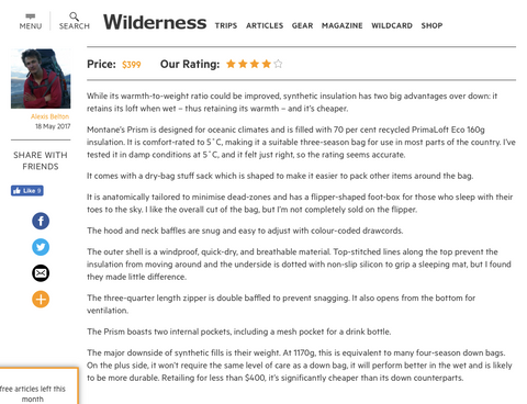 prism sleeping bad wilderness mag review