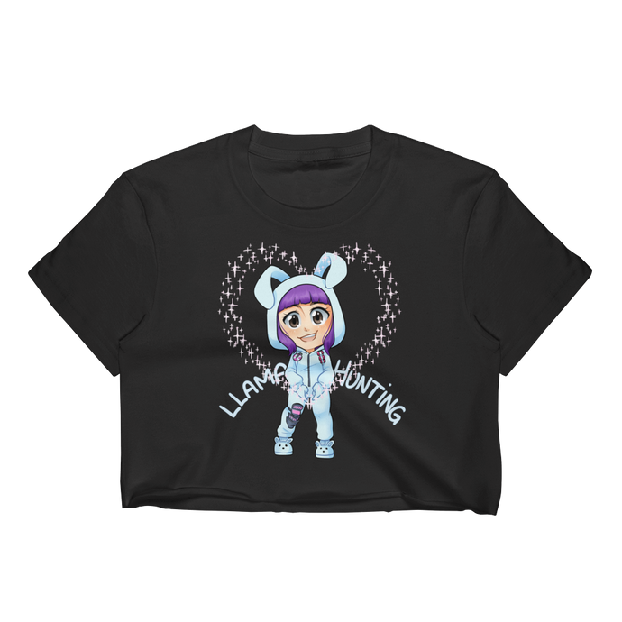 Llama Hunting - Los Angeles Apparel Short Sleeve Cropped T-Shirt w/ Tear Away Label