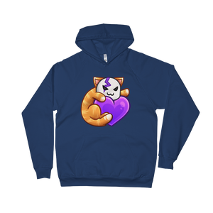 Cid Kitty Heart - American Apparel Unisex California Fleece Pullover Hoodie