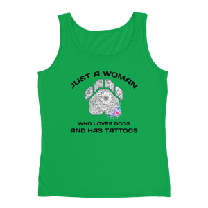 Dogs and Tattoos - Anvil Ladies Missy Fit Tank Top with Tear Away Label