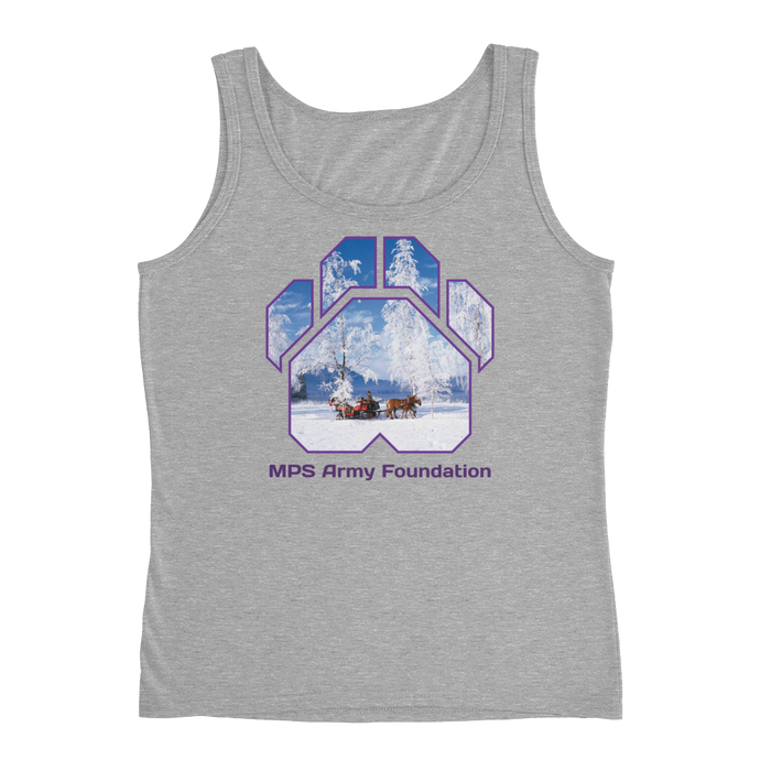 Winter Sleigh Ride - Anvil Ladies Missy Fit Tank Top with Tear Away Label