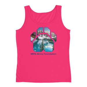 Winter Mountain - Anvil Ladies Missy Fit Tank Top with Tear Away Label