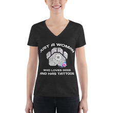 Dogs and Tattoos - Bella + Canvas Triblend V-Neck T-Shirt w/ Tear Away Label