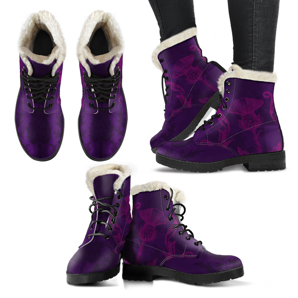 Scottish Thistle Vegan Faux Fur Leather Boots - Mermaid Freak