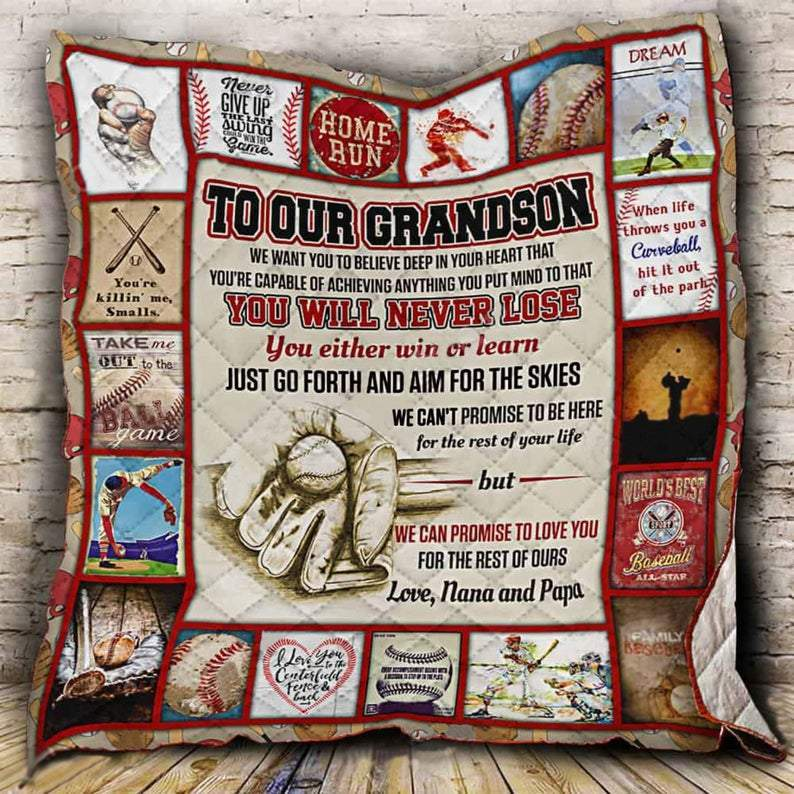 Grandson Baseball Quilt Blanket for Sports Lovers, Graduation Gift, Grandmother and Grandfather Gifts - Mermaid Freak