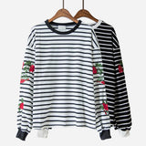 EMBROIDERED ROSE OVERSIZED STRIPED PULLOVER SHIRT