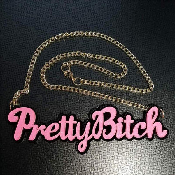 """Pretty Bitch"" Pendant Necklace - Mermaid Freak"