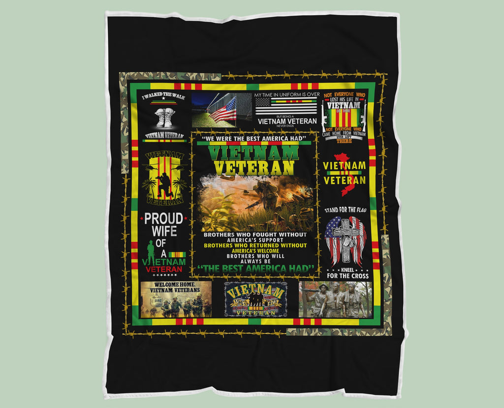 A Proud Wife Of A Vietnam Veteran Blanket, Veteran Gift for Her, Vietnam Veteran - RH2723 - Mermaid Freak