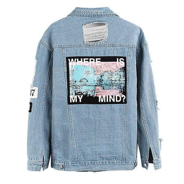 """Where is My Mind"" Kpop 90s Aesthetic Denim Jacket - Mermaid Freak"
