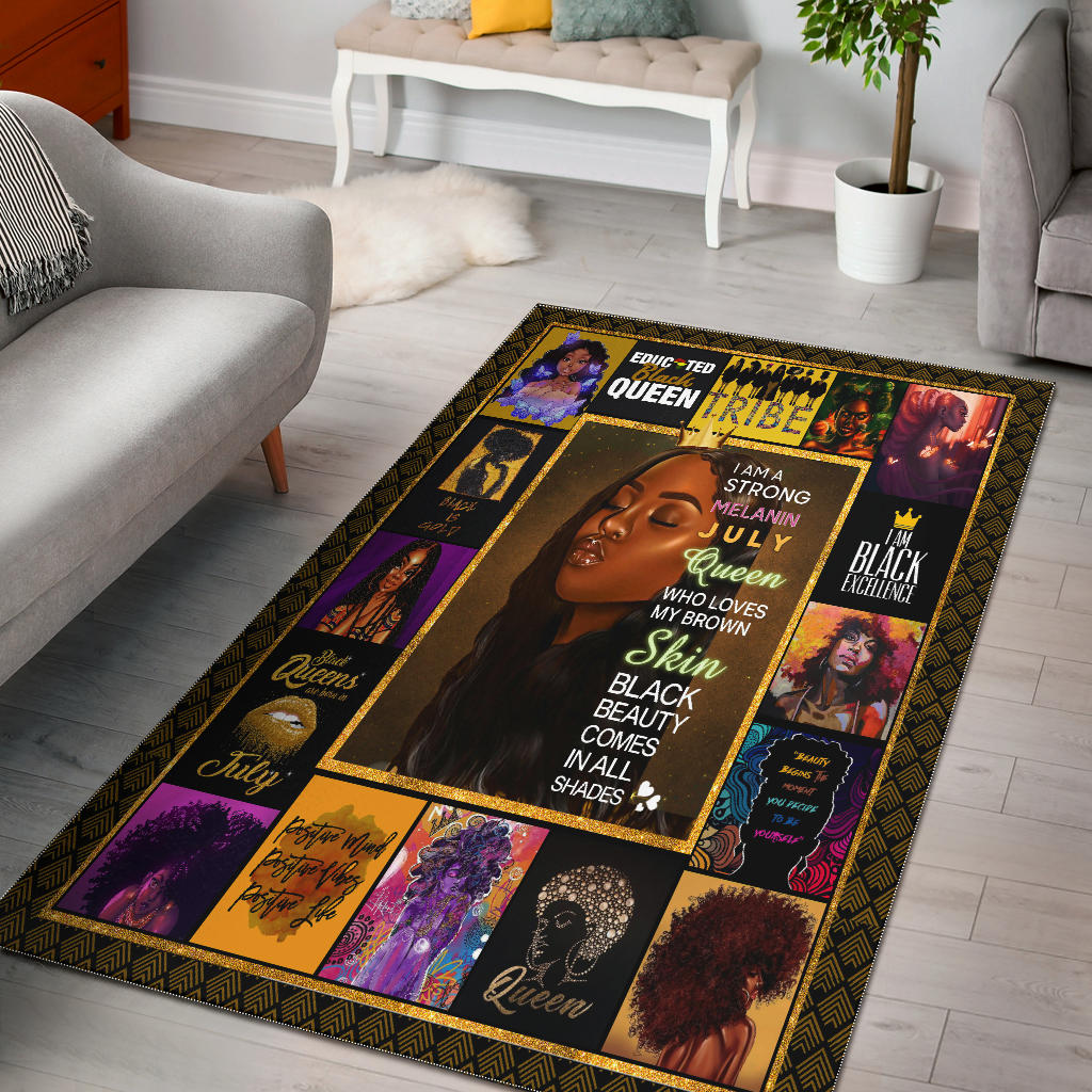 Educted Black Girl Queen Rectangular Rugs, Gifts for Black Women - Mermaid Freak