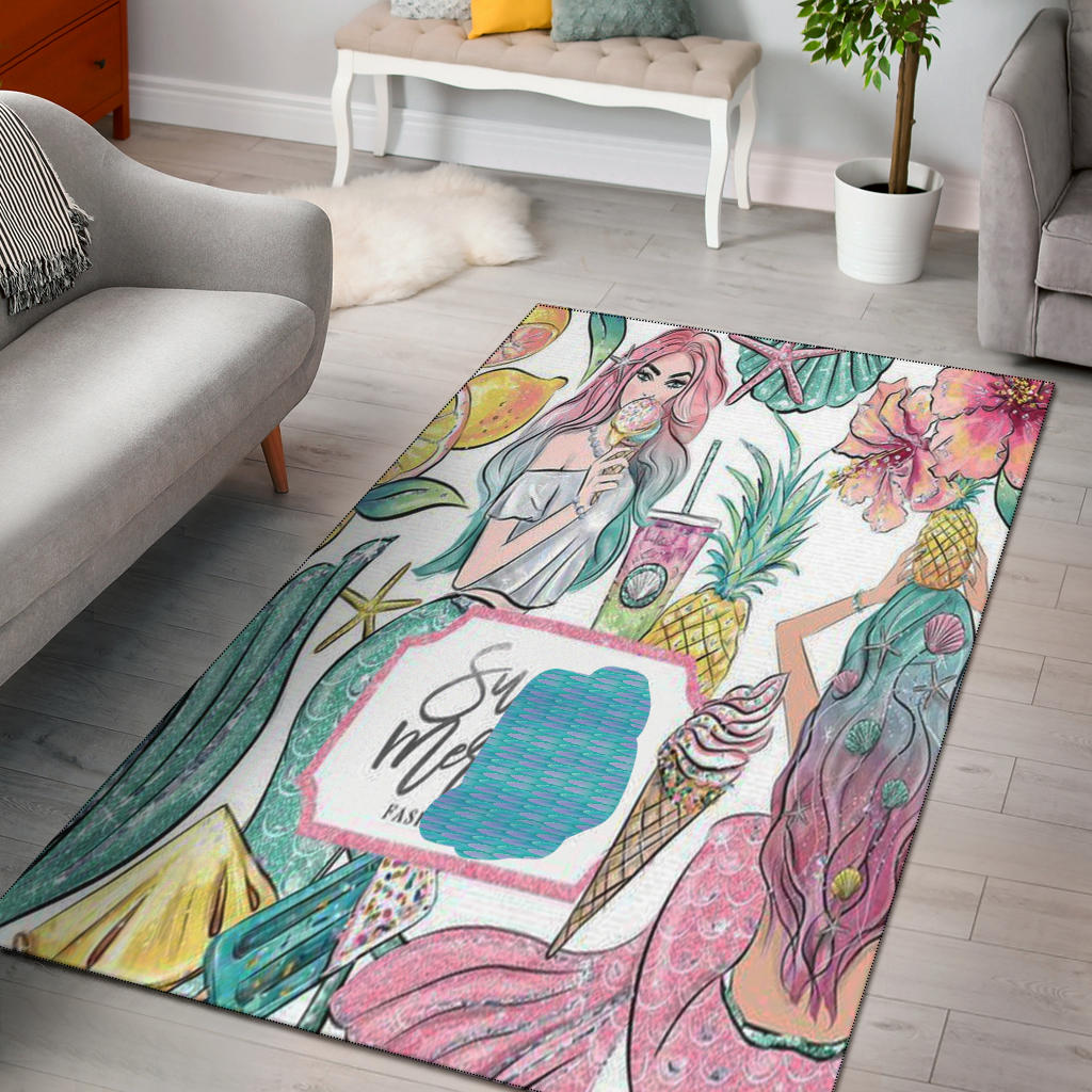Mermaid Pattern Floral Rectangular Rug,  Mermaid Lover's Gift - Mermaid Freak