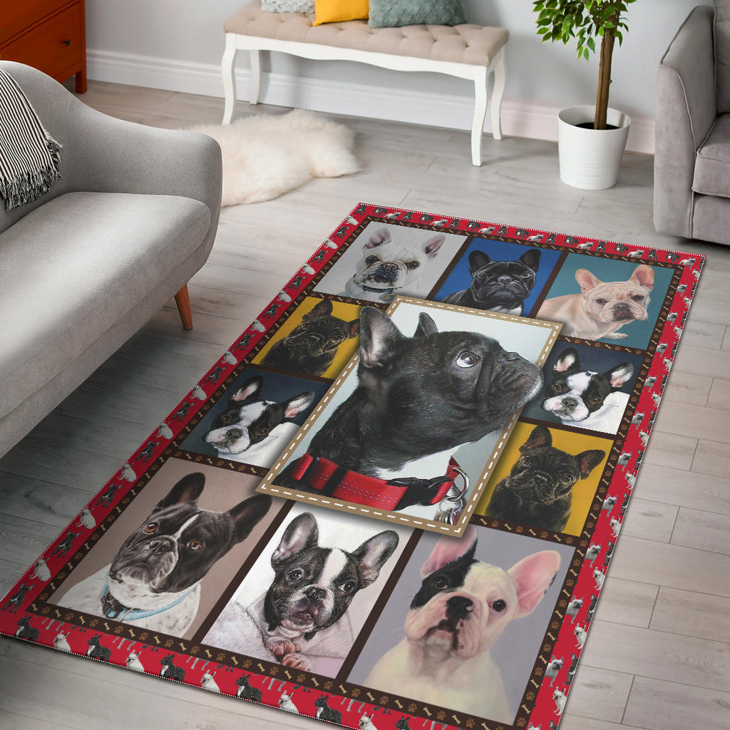 Boston Terrier Pattern Rectangular Rug, Gift For Dog Lovers - Mermaid Freak