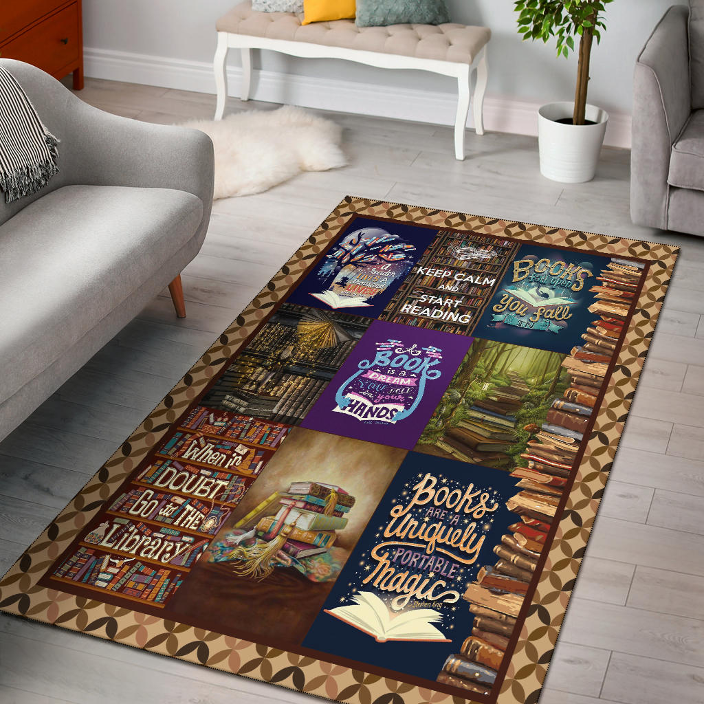 Reading Rectangular Rug, Bibliophile  Carpet, Gift For Book Lovers - Mermaid Freak