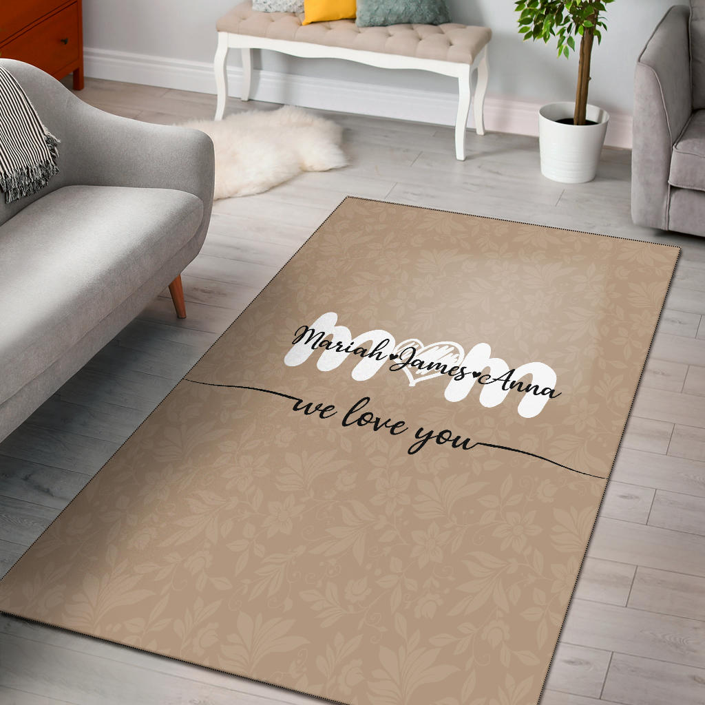 Personalized We Love You Mom Rectangular Rug, Kids To Mom Gifts - Mermaid Freak