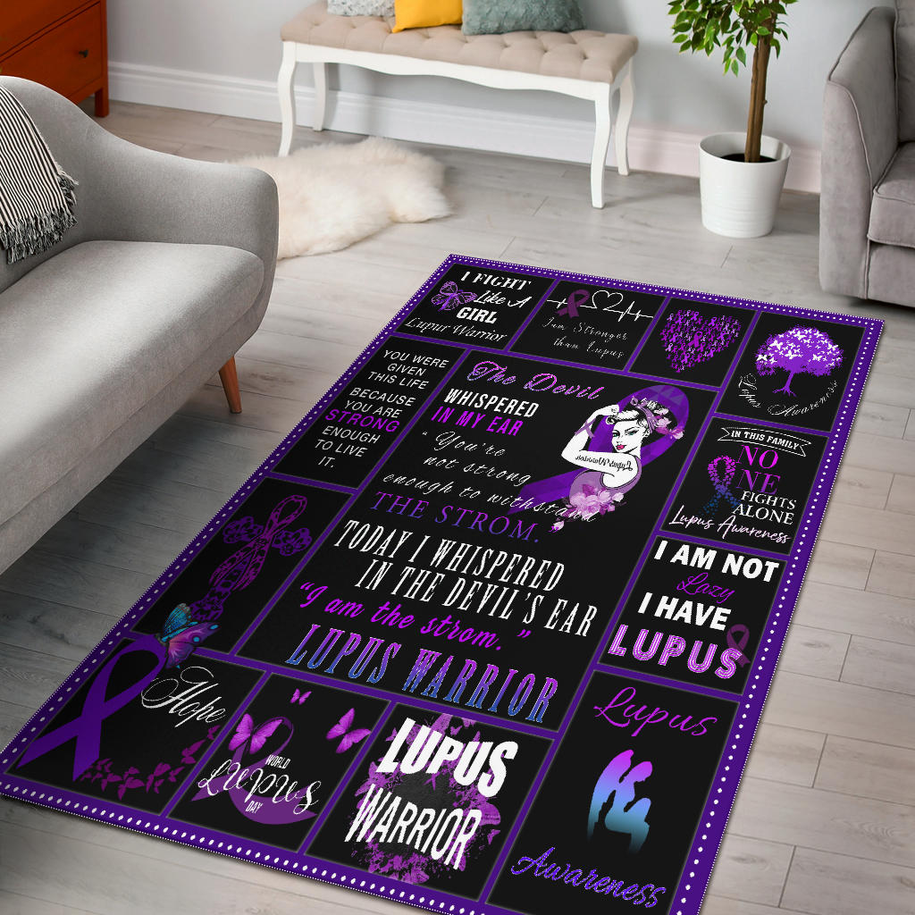 Lupus Warrior Rectangular Purple Rug, Gift For Lupus Warriors - Mermaid Freak