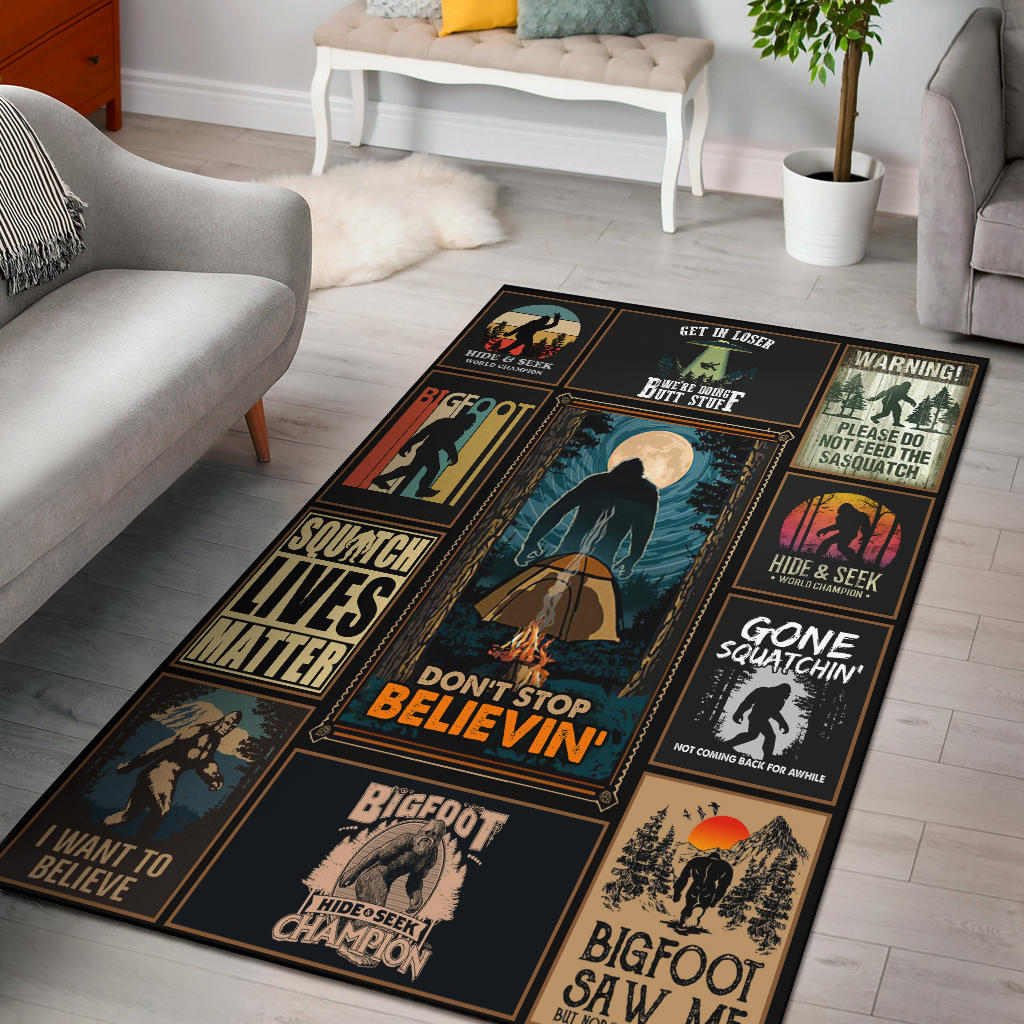 Sasquatch Theme Rectangular Rug, Sasquatch Gift, Bigfoot Lover's Rug - Mermaid Freak