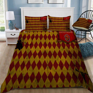 Harry Potter Diamond Pattern Gryffindor 3pcs Bedding Set - Mermaid Freak