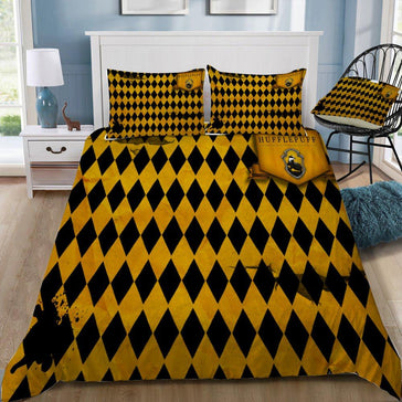 Harry Potter Diamond Pattern Hufflepuff 3pcs Bedding Set - Mermaid Freak