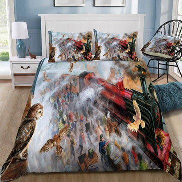 Harry Potter Hogwarts Express Owl Pattern Bedding Set - Mermaid Freak