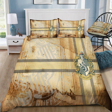 Harry Potter Wood Pattern Hufflepuff 3pcs Bedding Set - Mermaid Freak