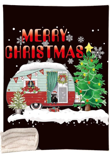 Merry Christmas Blanket,Cosy Christmas Blanket,Caravan Lovers Blanket,Camping in Christmas - Mermaid Freak