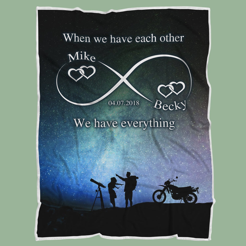 Personalized Couple Anniversary Blanket - Infinity Sky Love - Mermaid Freak