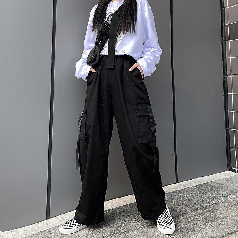 Harajuku E-girl E-boy Black Cargo Pants - Mermaid Freak