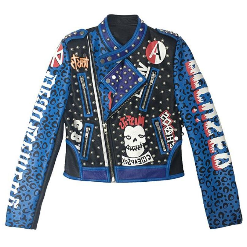 Graffiti Leopard Print Skull Pattern Leather Jacket - Mermaid Freak