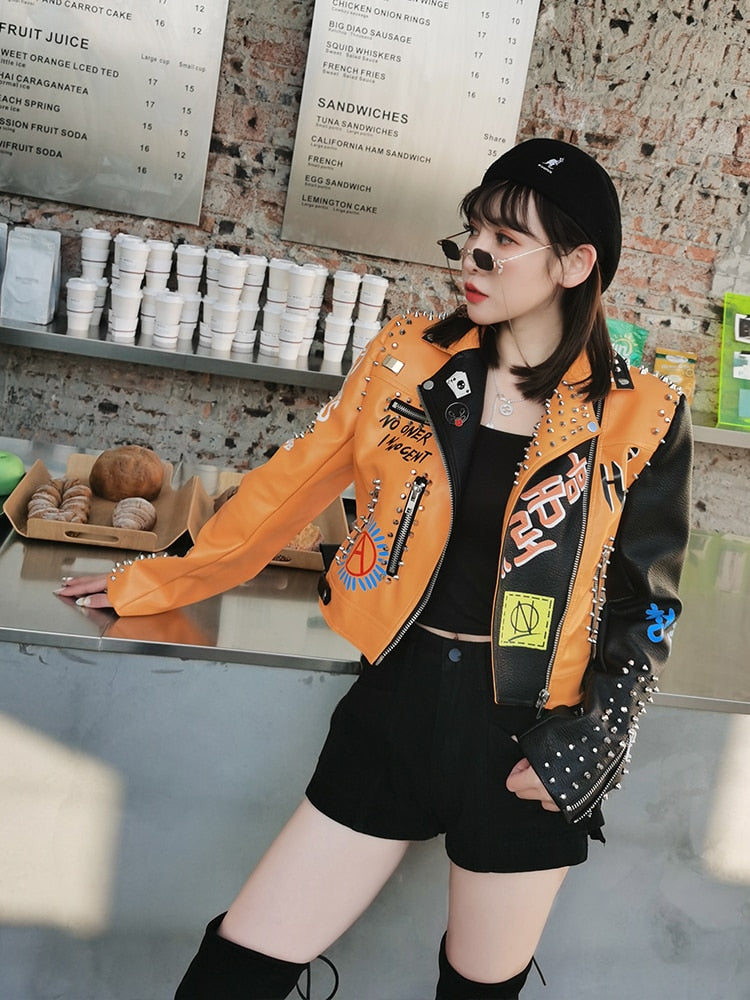Yellow Graffiti Punk Style Motorcycle Leather Jacket - Mermaid Freak