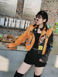 Yellow Graffiti Punk Style Motorcycle Leather Jacket