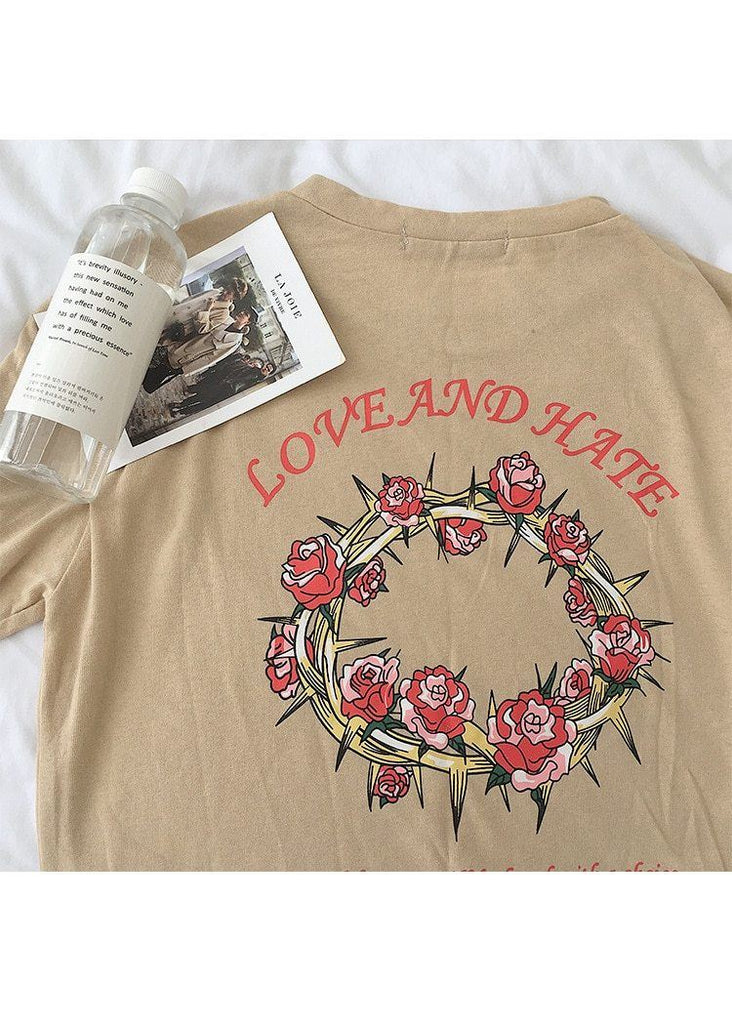 Love And Hate Tumblr Aesthetics Rose T-Shirt - Mermaid Freak