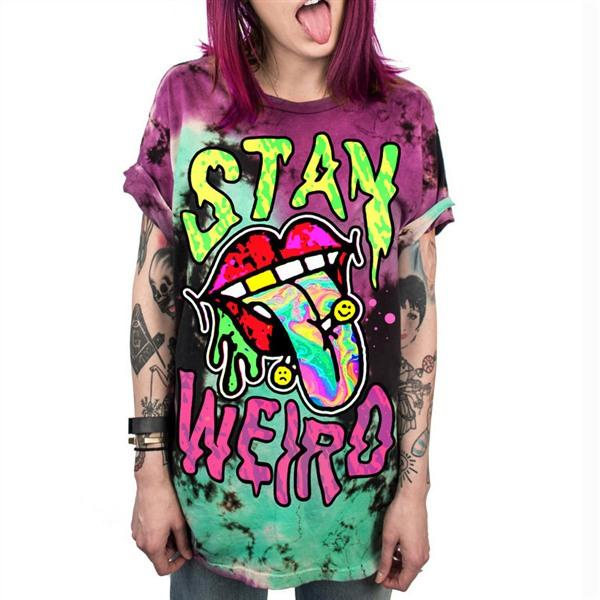 """Stay Weird"" Acidic Grunge Aesthetic T-Shirt - Mermaid Freak"
