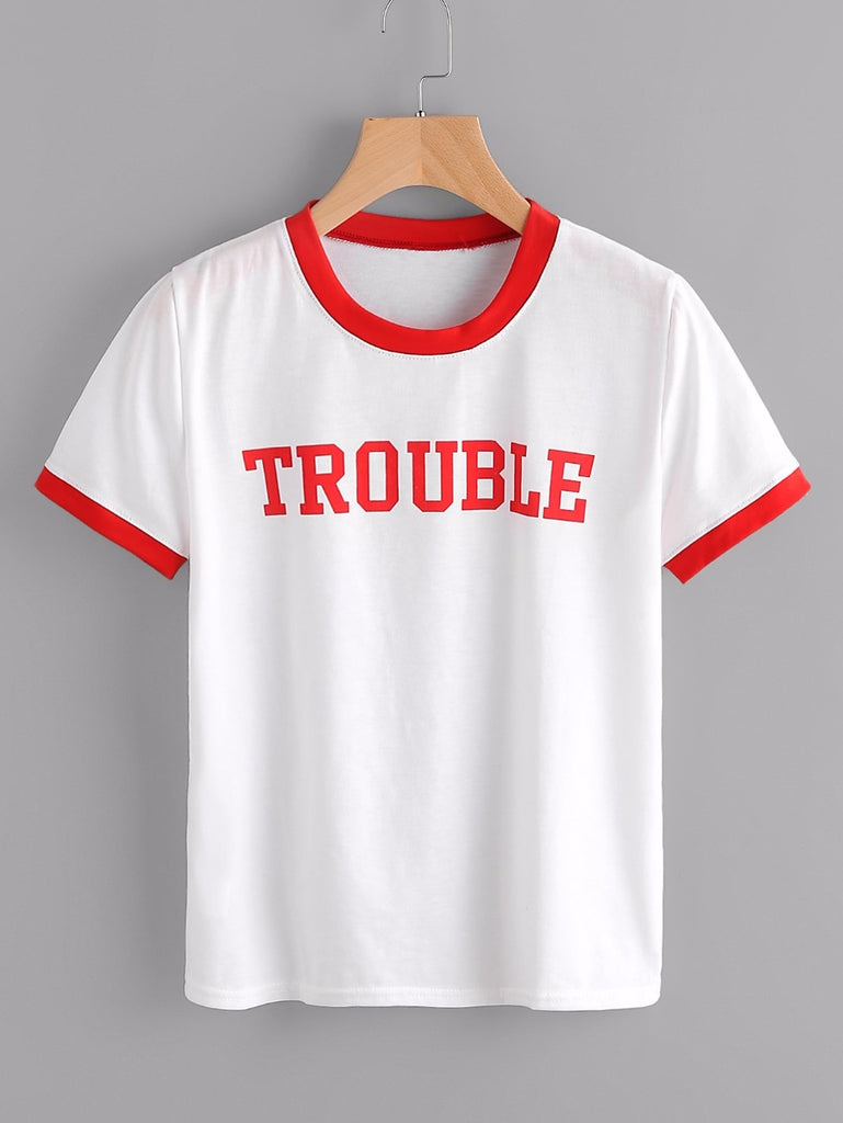 Trouble Red Letter Printed Women T-Shirt - Mermaid Freak