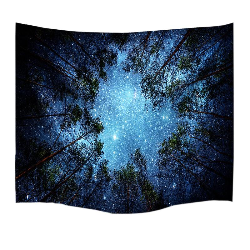 Psychedelic Forest Trees and Stars Starry Sky Tapestry - Mermaid Freak