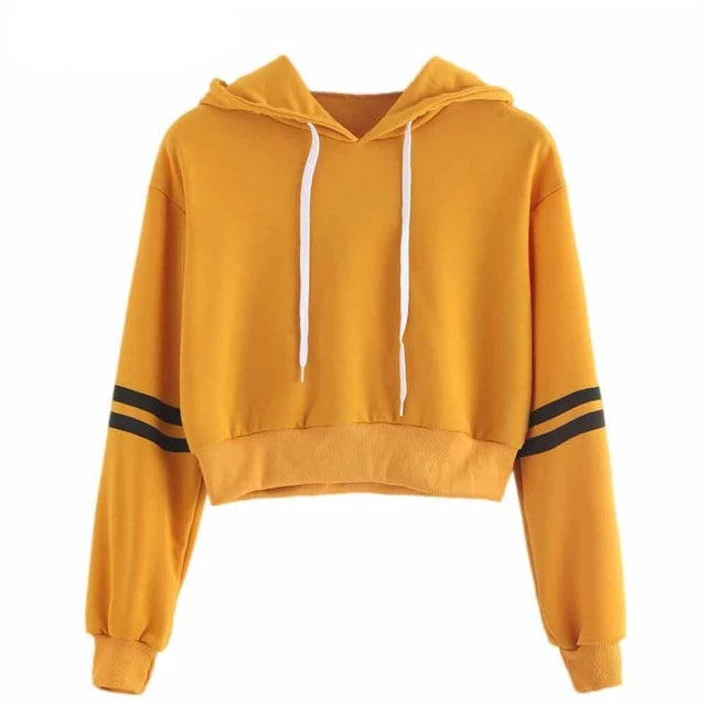 Striped Yellow Crop Top Women Hoodies - Mermaid Freak