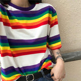 Rainbow Vintage Striped Aesthetics T-Shirt