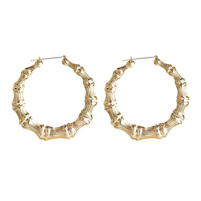 VIVILADY Hiphop Sexy Bamboo Round Hoop Earrings Women Gold Color Basketball Wives Statement Brincos Boho Jewelry Party Gift - Mermaid Freak