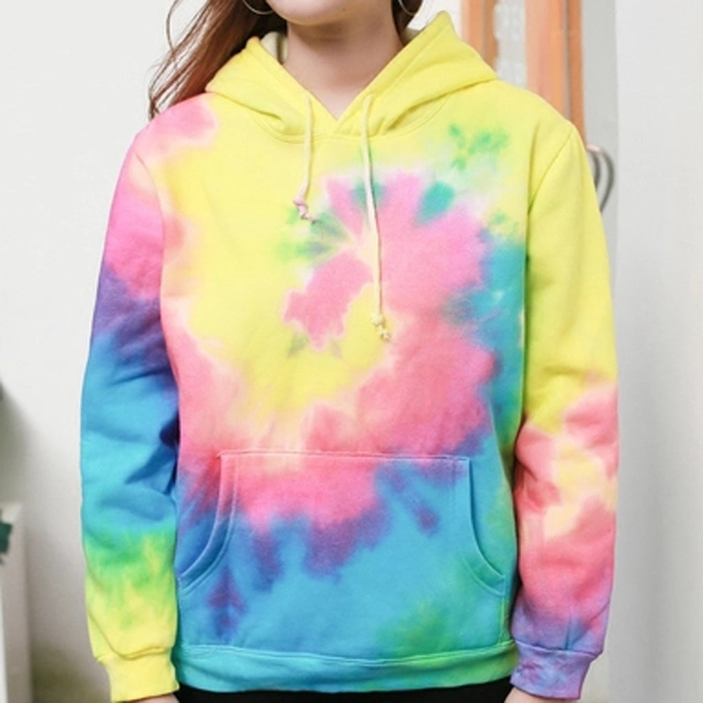 Korean Hip Hop Rainbow Spiral Tie Dye Hippie Hoodies - Mermaid Freak