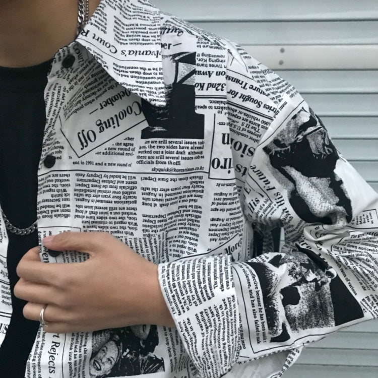English Newspaper Letter Print Loose Long Blouse Oversized Korean Punk Shirt Women Homme Streetwear Dark Top Blusa Korean Sun T - Mermaid Freak