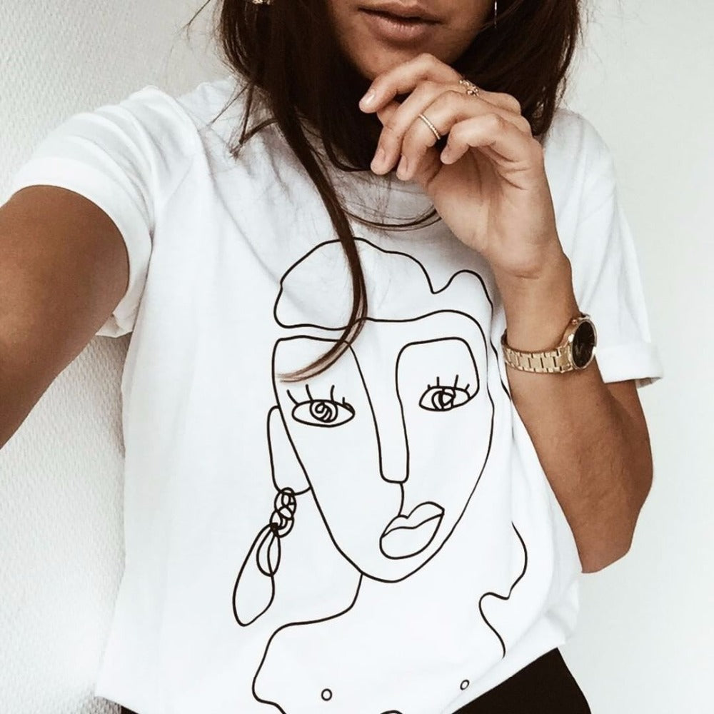 Retro Sketching Face T-Shirt - Mermaid Freak