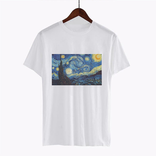 Ukiyo-e Vincent Van Gogh Printed Funny White Tshirts Harajuku Kimono Women Short Sleeve Graphic Tees Tops Vintage Japanese Style - Mermaid Freak