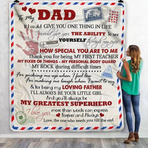To My Dad Blanket, Thankful To Dad, Letter To My Dad, Best Gift To My Dad, Best Gifts for Dads, NS1 - Mermaid Freak