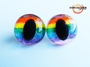 Glitter Rainbow Stripe Cat Eyes by the Pair