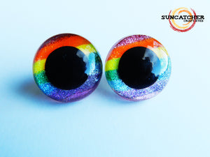 Glitter Rainbow Stripe Eyes by the Pair