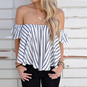 2018 Summers Women Off Shoulder Stripe Casual Blouse Shirt Tops