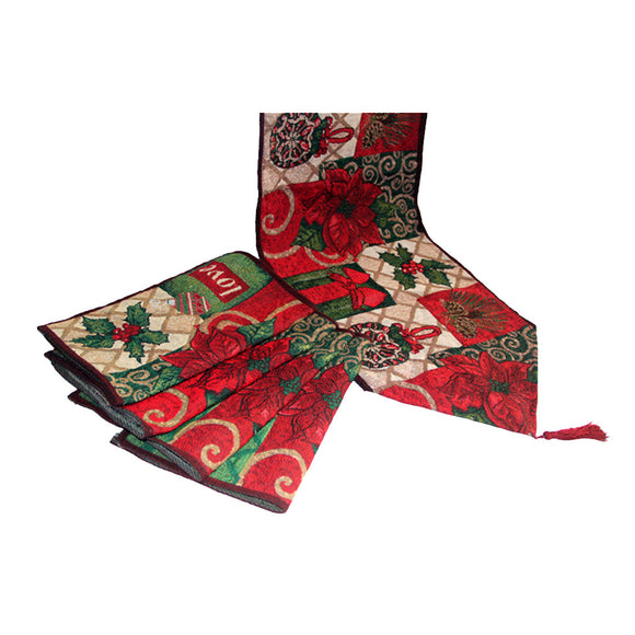 Christmas Flower Design Table Runner