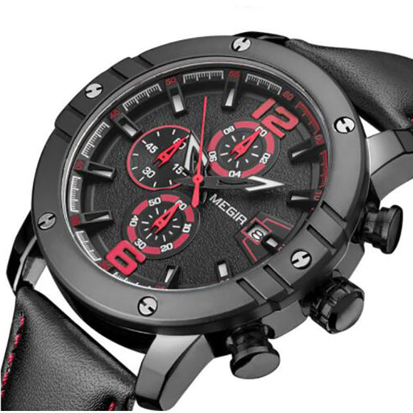 New Men Sport Watch Leather Strap Chronograph Quartz Army Military Watches
