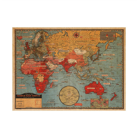 Vintage Map Wall Decal Kraft Paper Antique Poster Wallpaper Stickers Wall Mural for Home Office Decor 70x50cm